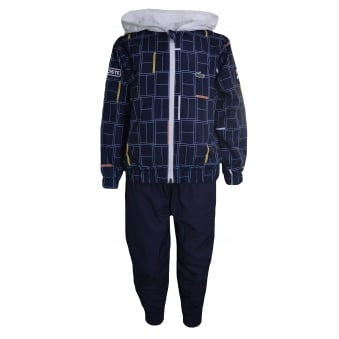 Lacoste Kids Navy Blue Novak Djokovic Collection Print Taffeta Tracksuit