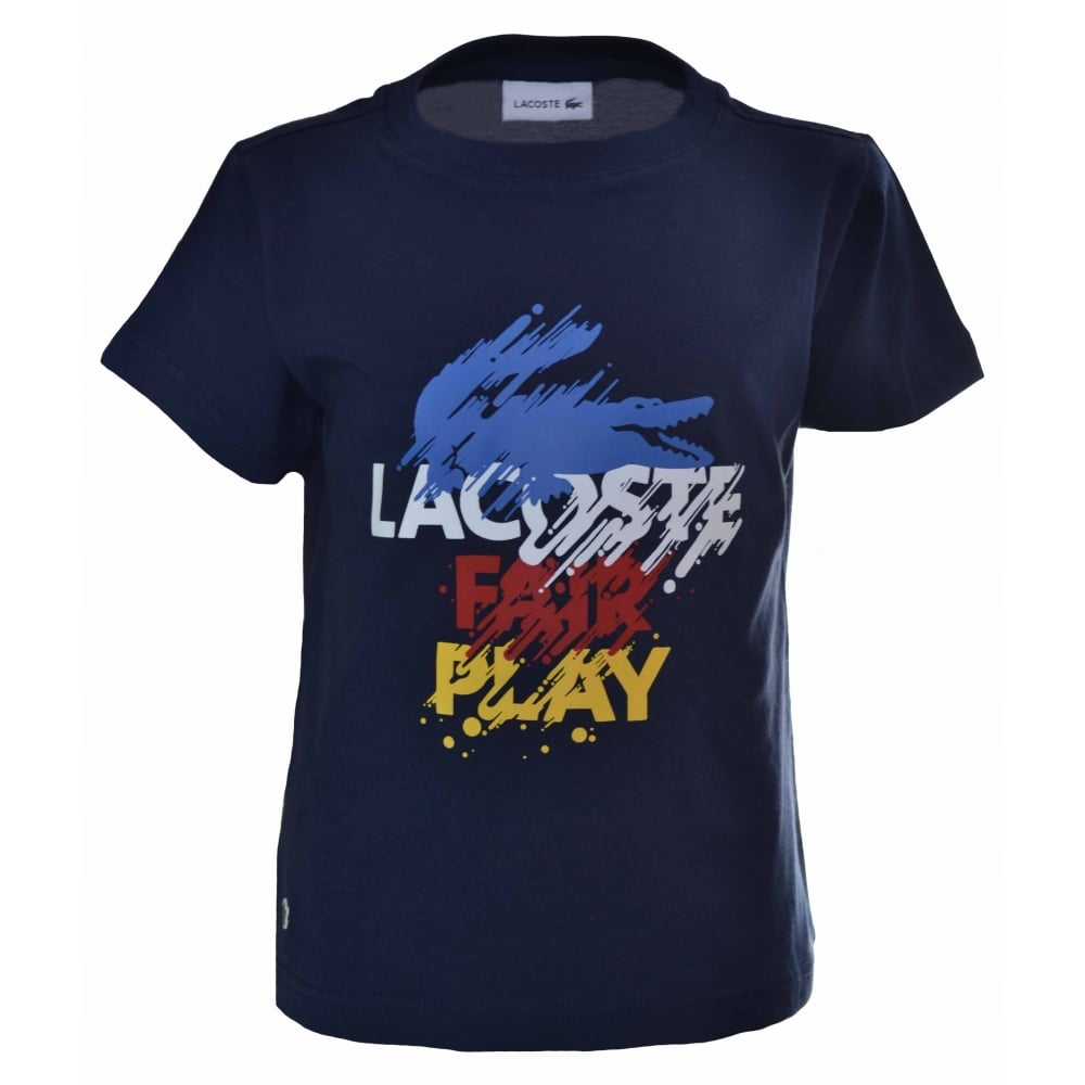 077b3a20 Lacoste Kids Navy Blue Printed T-Shirt