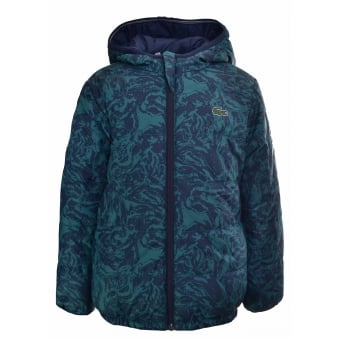 Lacoste Kids Navy Blue Reversible Puffer Jacket