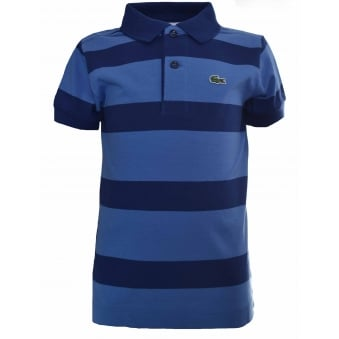 Lacoste Kids Navy Blue Striped Polo Shirt