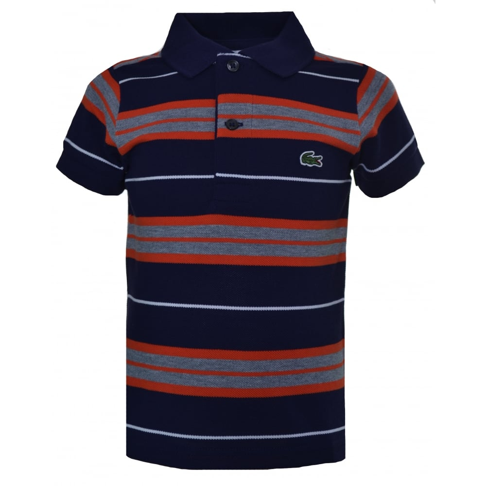 3a1b43cd4761 Lacoste Kids Navy Blue Striped Short Sleeve Polo Shirt