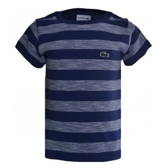 Lacoste Kids Navy Blue Striped T-Shirt
