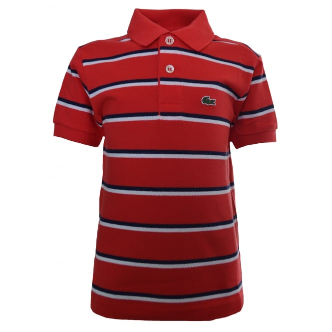 Lacoste Kids Red And White Polo Shirt