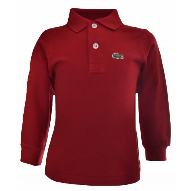 Lacoste Kids Red Long Sleeved Polo Shirt