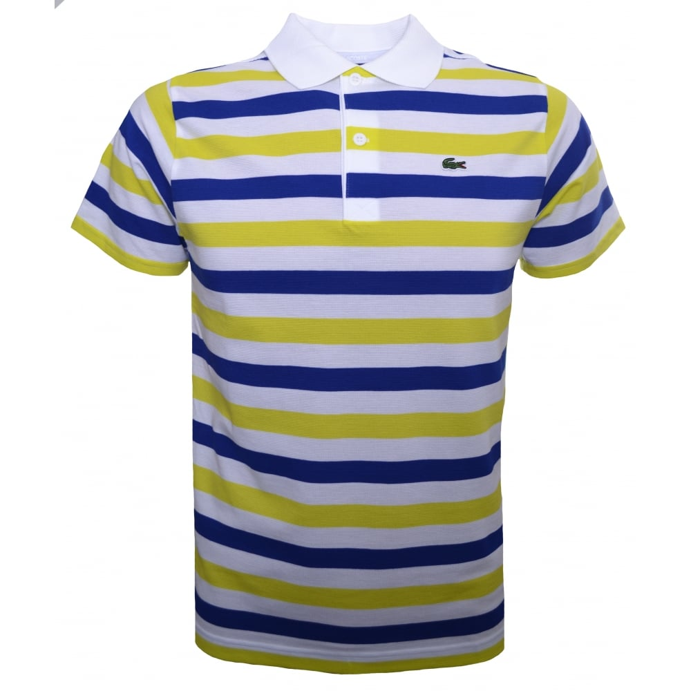 lacoste kids yellow and white polo shirt