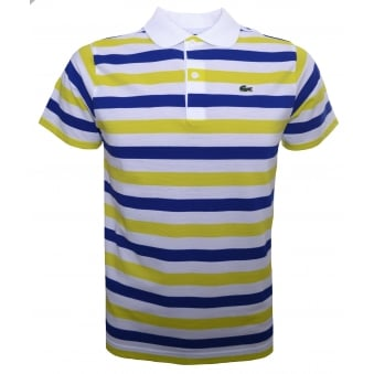 Lacoste Kids Yellow And White Striped Polo Shirt