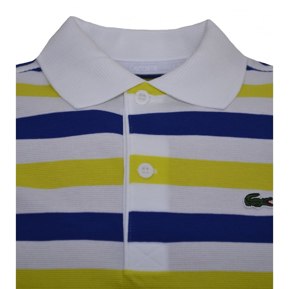 d23460388 Lacoste Kids Yellow And White Striped Polo Shirt