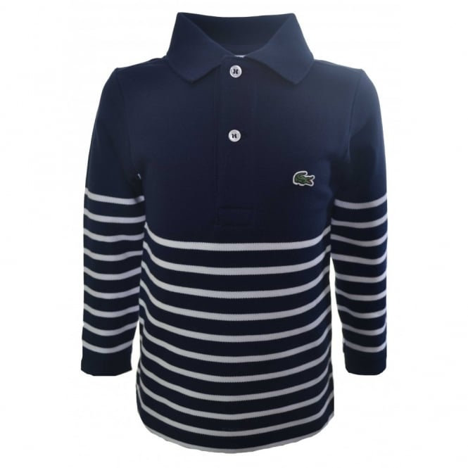 Lacoste Kids Long Sleeve White And Navy Polo Shirt