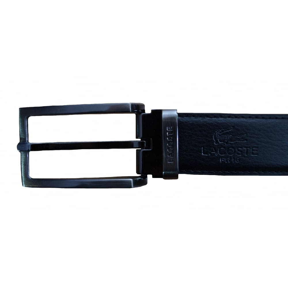 183fa780bbfe Lacoste Men  039 s Black And brown Reversible Grained Leather Belt With Two  Buckles