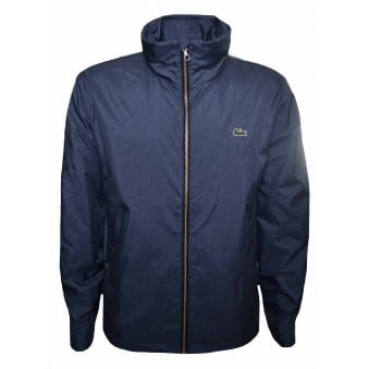 Lacoste Men's Blue And Grey Herringbone Patterned Jacket