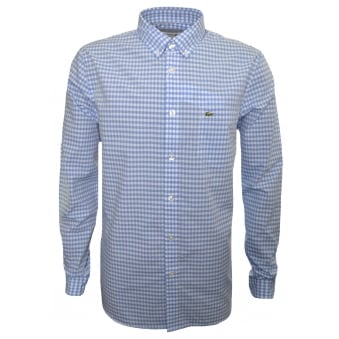 Lacoste Men's Blue Regular Fit Check Pattern Long Sleeved Shirt