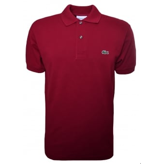 Lacoste Men's Classic Fit Burgundy Short Sleeve Polo Shirt