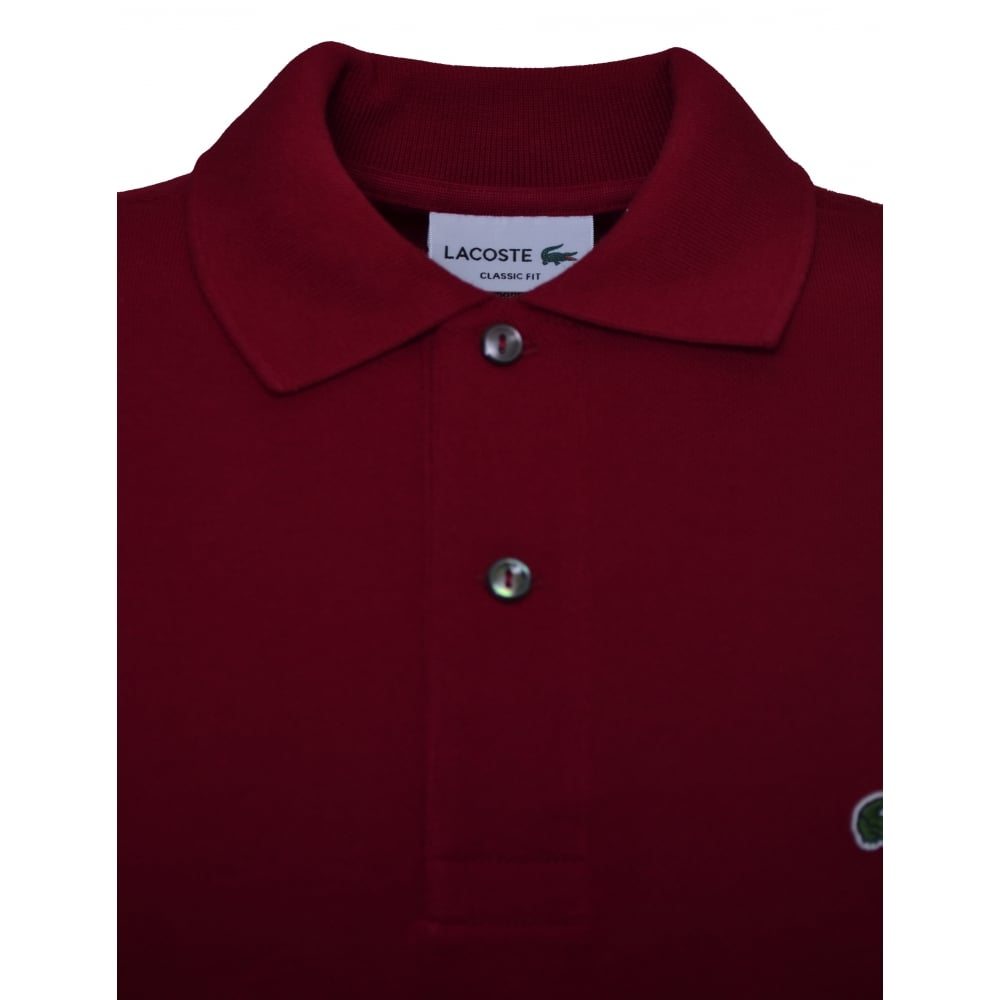 b9811459f6 Lacoste Men  039 s Classic Fit Burgundy Short Sleeve Polo Shirt