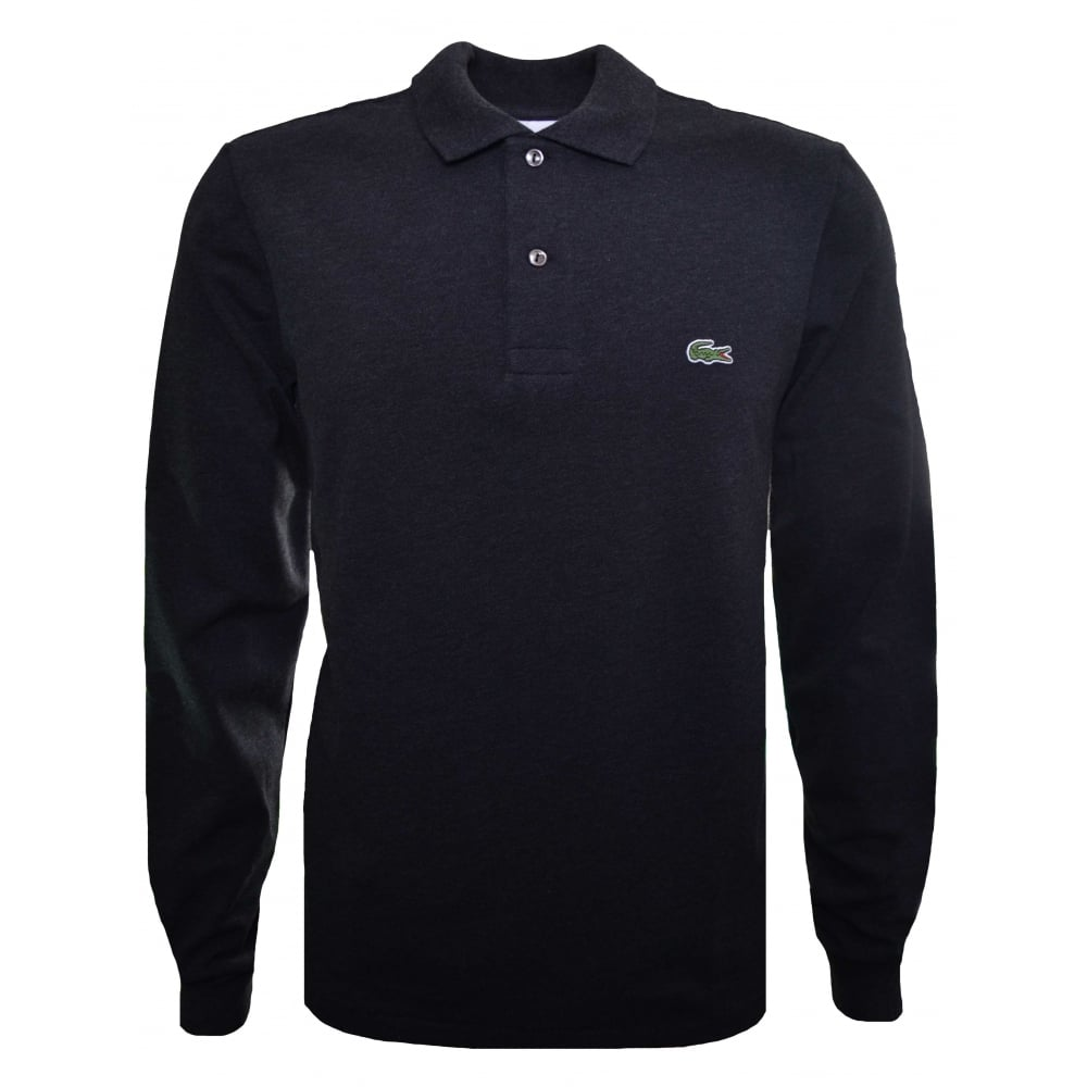 58d37459 Classic Fit Dark Grey Long Sleeved Polo Shirt