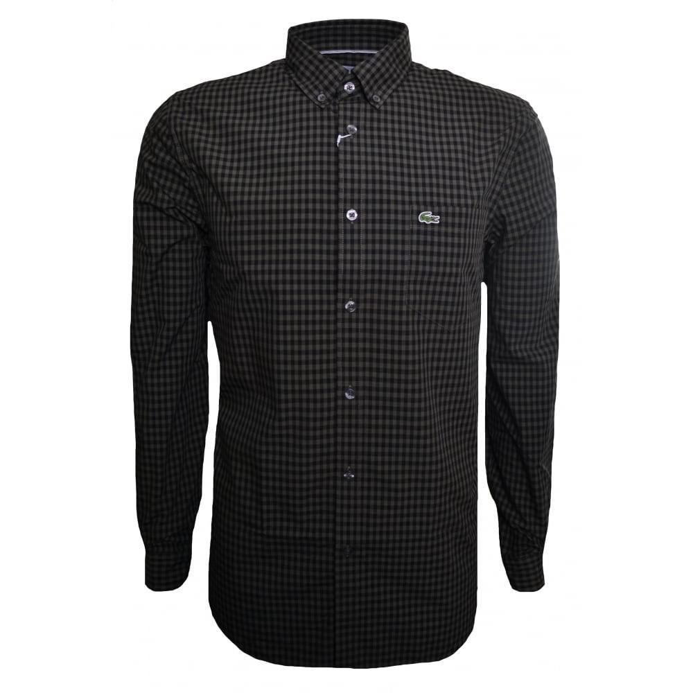 2e68fa6047 Lacoste Men's Lacoste Men's Green Regular Fit Check Pattern Long Sleeved  Shirt