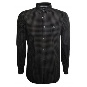 Lacoste Men's Green Regular Fit Check Pattern Long Sleeved Shirt