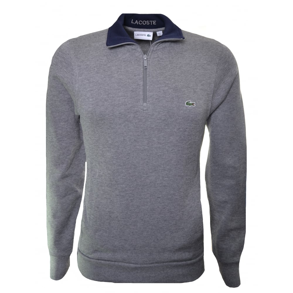 lacoste men's grey half zip sweatshirt