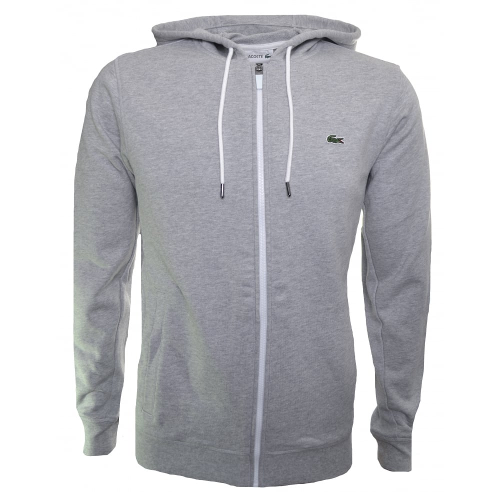 lacoste men s grey hooded zip through sweatshirt 3bd36b2c6438