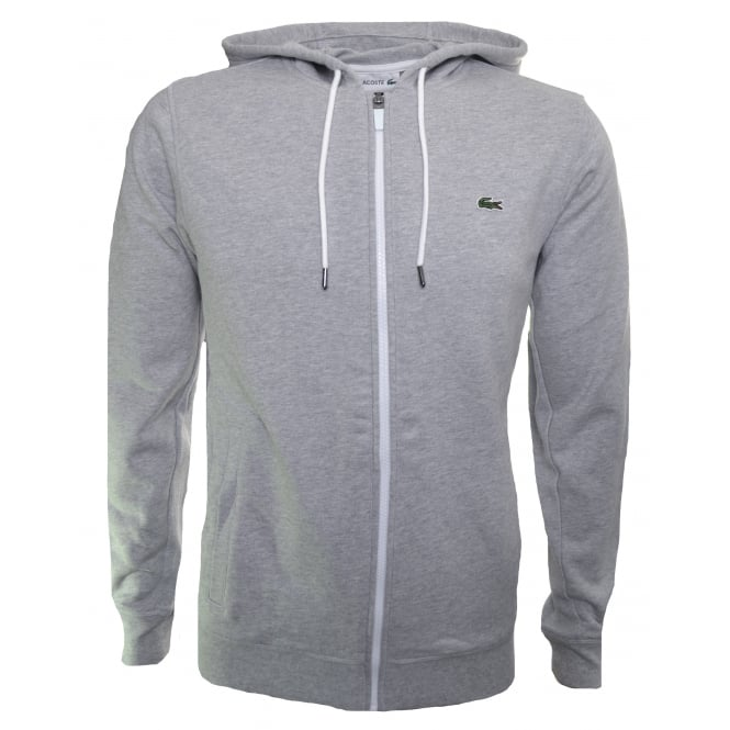 Lacoste Men's Grey Hooded Zip Through Sweatshirt