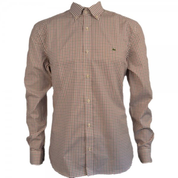 Men 39 S Lacoste Red And Grey Check Shirt