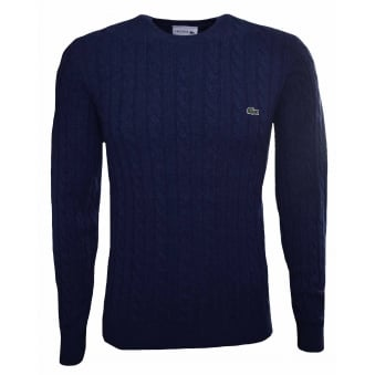 Lacoste Men's Navy Blue Crew Neck Wool Cable Knit Effect Jumper