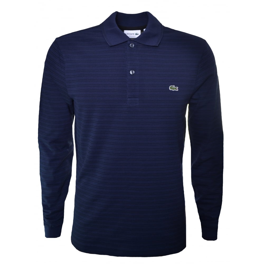 lacoste men 39 s striped long sleeve polo shirt