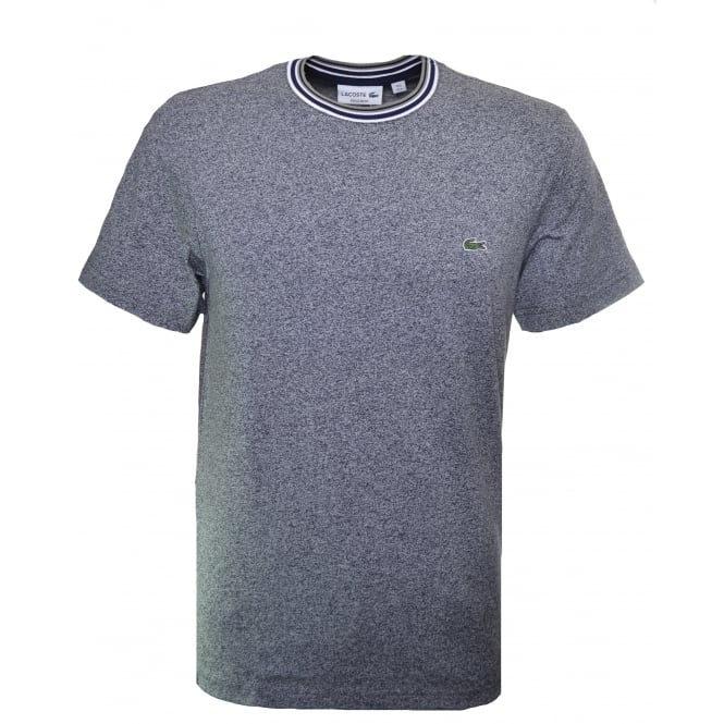 Lacoste Men's Navy Blue Marl Striped Collar Cotton T-Shirt