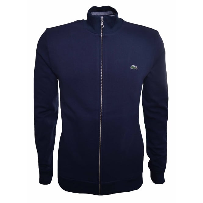 Lacoste Men's Navy Blue Zippered Stand-up Collar Fleece Sweatshirt
