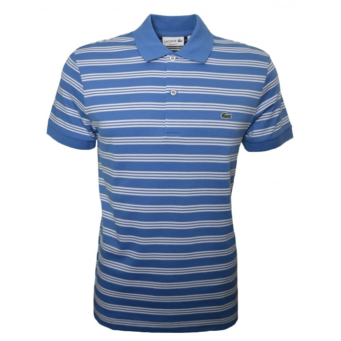 Lacoste Mens Regular Fit Blue And White Striped Polo Shirt
