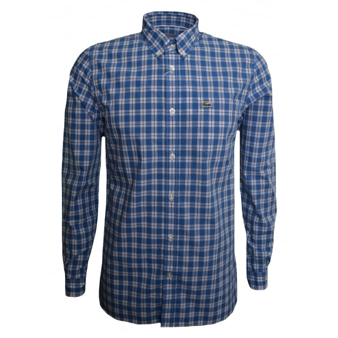 Lacoste Men's Regular Fit Blue Check Long Sleeved Shirt