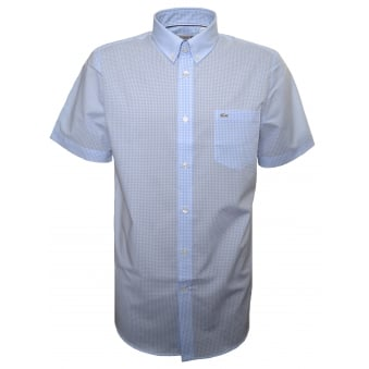 Lacoste Men's Regular Fit Blue Check Short Sleeve Shirt