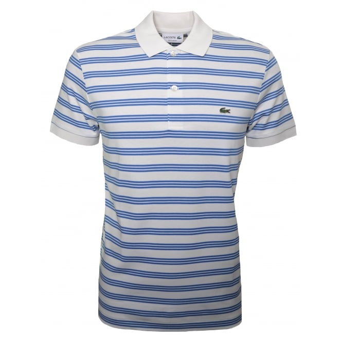 Lacoste Mens Regular Fit Cream And Blue Striped Polo Shirt