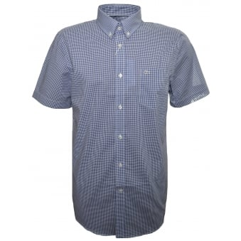Lacoste Men's Regular Fit Dark Blue Check Short Sleeve Shirt
