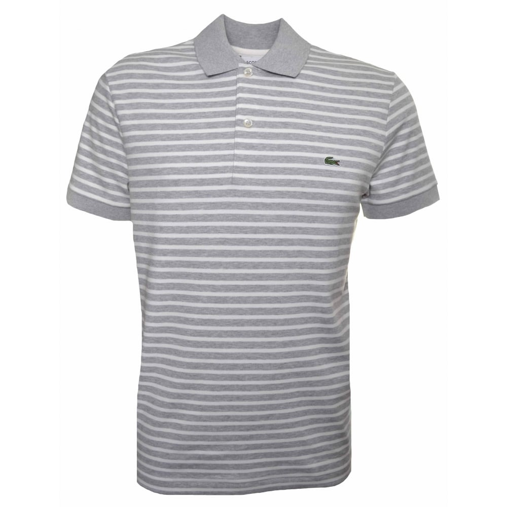 Lacoste Men  039 s Regular Fit Grey And White Striped Polo Shirt 20907503643f