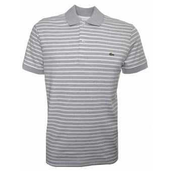 Lacoste Men's Regular Fit Grey And White Striped Polo Shirt