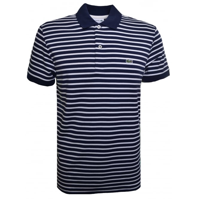 Lacoste Men's Regular Fit Navy And Cream Striped Polo Shirt