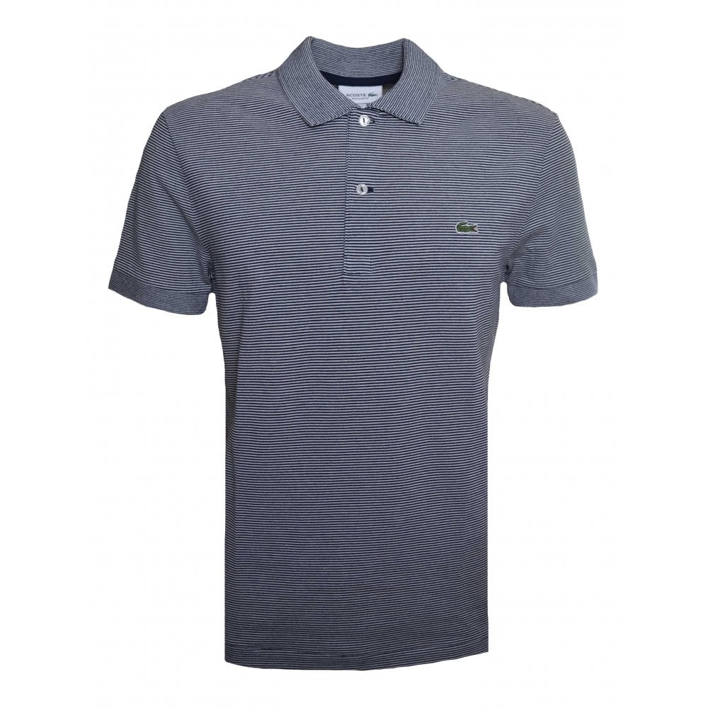 d01a9a2ce20b Lacoste Men  039 s Regular Fit Navy Blue Striped Polo Shirt