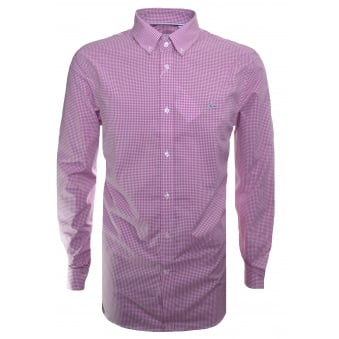 Lacoste Men's Regular Fit Pink Check Long Sleeve Shirt