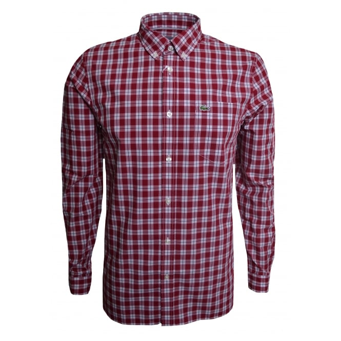 Lacoste Men's Regular Fit Red Check Long Sleeved Shirt