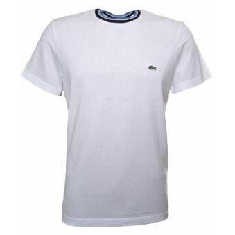 Lacoste Men's Regular Fit White Stripped Ribbed Crew Neck T-Shirt