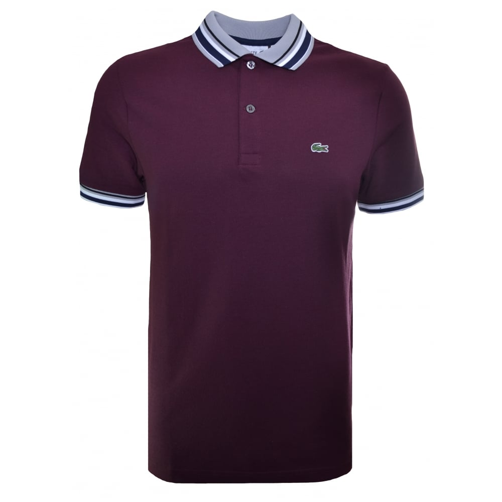 47266a60 Lacoste Men's Slim Fit Burgundy Polo Shirt
