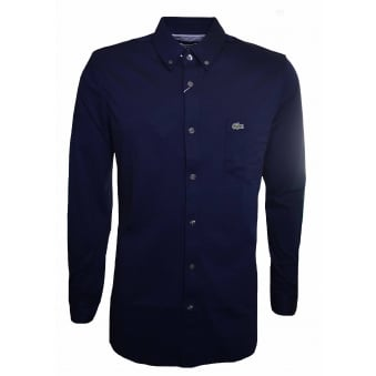 Lacoste Men's Slim Fit Dark Navy Blue Long Sleeved Shirt
