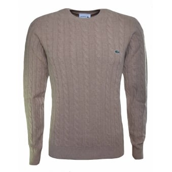 Lacoste Men's Stone Crew Neck Wool Cable Knit Effect Jumper