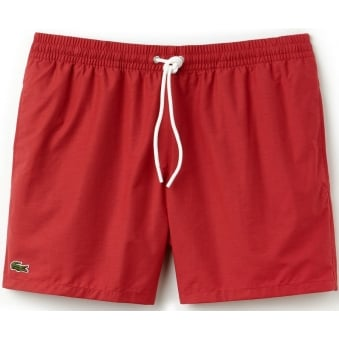 Lacoste Mens Taffetta Red Swimming Trunks