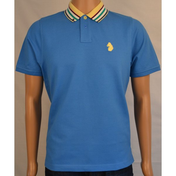Men 39 s luke 1977 hot blue chopper polo t shirt for Luke donald polo shirts