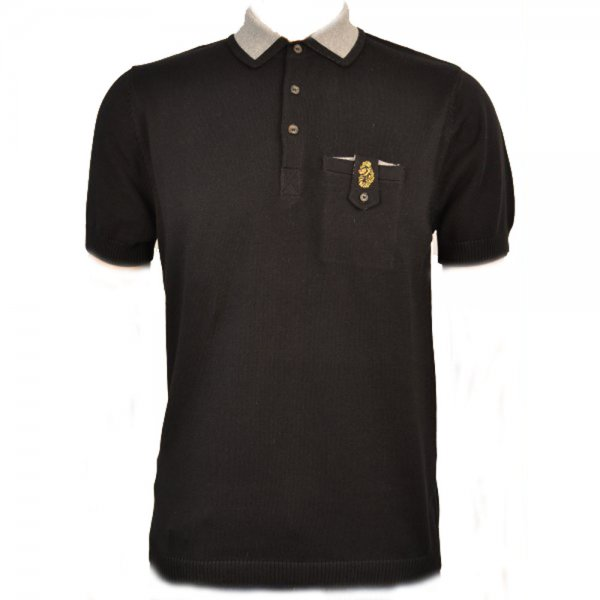Men 39 s luke 1977 black knit polo shirt for Luke donald polo shirts