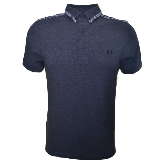 Fred Perry Men's Graphite Marl Gingham Bound Edge Slim Fit Polo Shirt