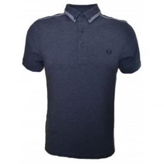 Men's Fred Perry Graphite Marl Gingham Bound Edge Slim Fit Polo Shirt
