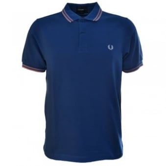 Men's Fred Perry Royal Blue Tonic Tipped Polo Shirt Slim Fit
