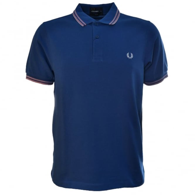 Fred Perry Men's Royal Blue Tonic Tipped Shirt Slim Fit